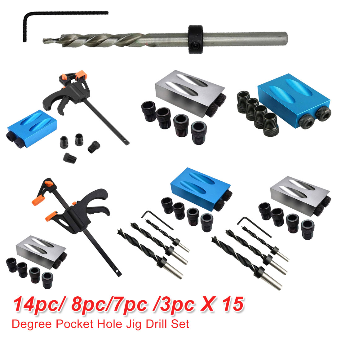 6mm 8mm 10mm Woodworking Pocket Hole Jig Angle Drill Guide Set 14pc/ 8pc/7pc /3pc Hole Puncher Locator Jig Drill For Carpentry