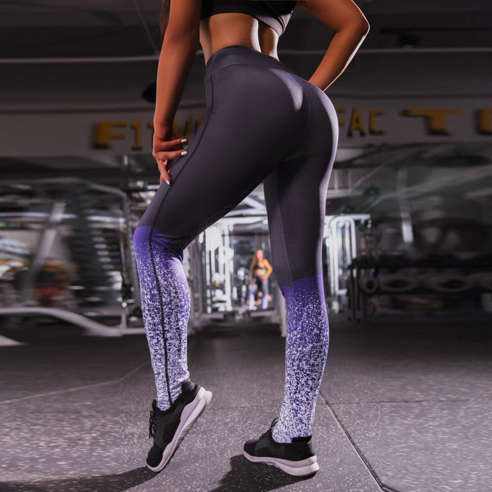 Sexy New Women Trousers Casual Gradient Patchwork Fitness Gyms Leggings Print Slim Mid Waist  Long Pants WorkOut Push Up Leggins