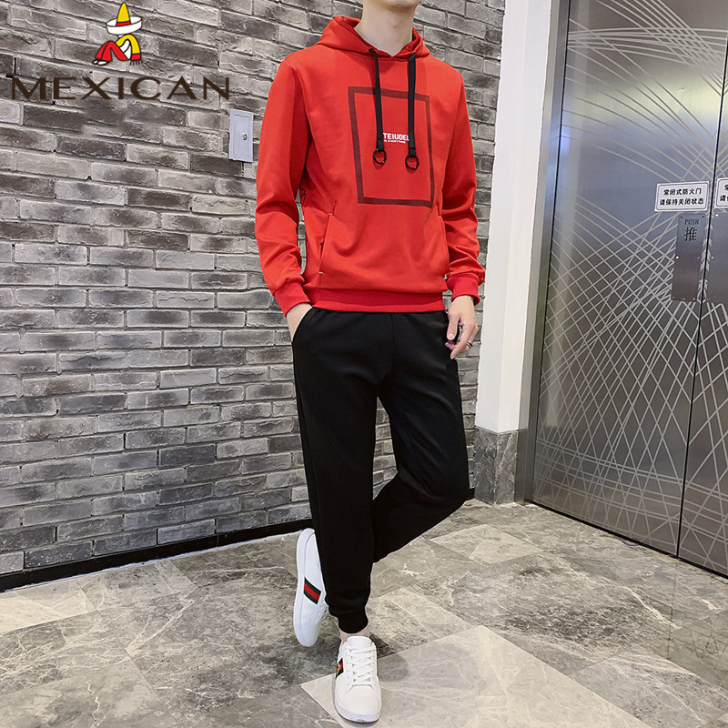 MEXICAN Men's Sweater Men's Hooded Long Sleeve T-Shirt Pullover Jacket Top Hooded Slim Casual Clothes Men's Set