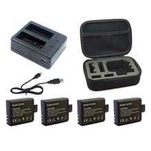 1Pcs Dual Charger + 4Pcs 900Mah Backup Rechargeable Li-Ion Battery For Eken H9 H9R H8Pro H8R Sj4000 Action Camera Accessories
