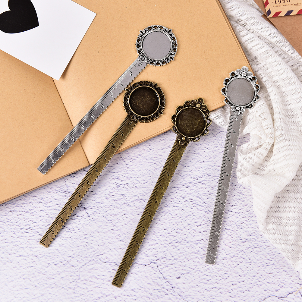 1pcs New Flower Bookmark With Ruler DIY Craft Student Stationery  Fit Inner 20mm Cabochon Base School Supplies Promotion Gift