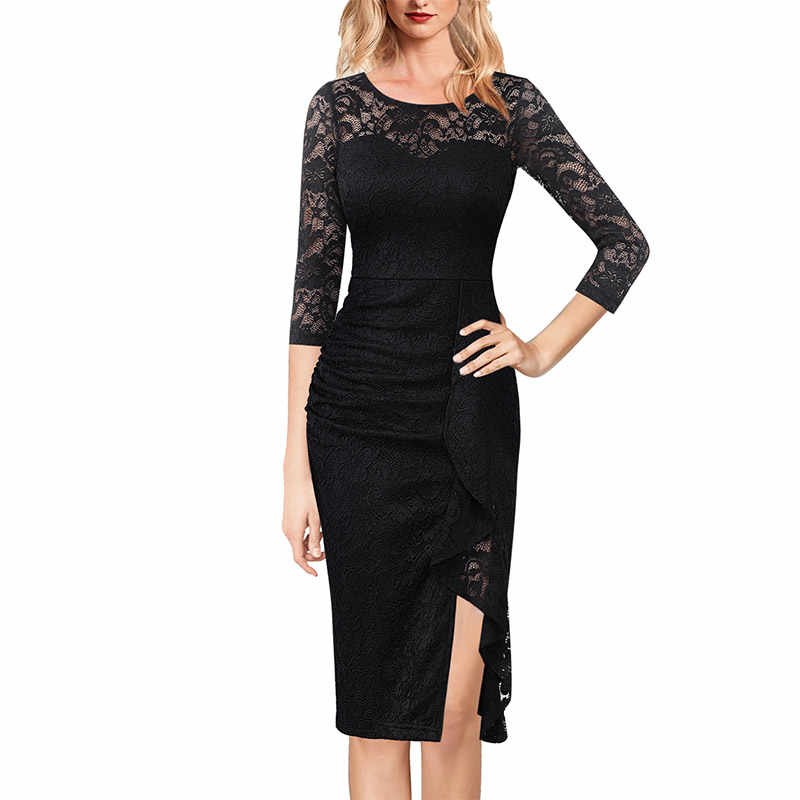 Vfemage Womens Ruches Ruches Slit Lace Formele Cocktail Wedding Party Moeder Van Bruid Speciale Gelegenheid Bodycon Potlood Jurk 1575