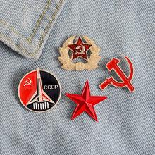 Rusia URSS alfileres de solapa con placa Vintage antiguo clásicos Retro placa de metal broche de colección de Souvenir Unión Soviética CCCP