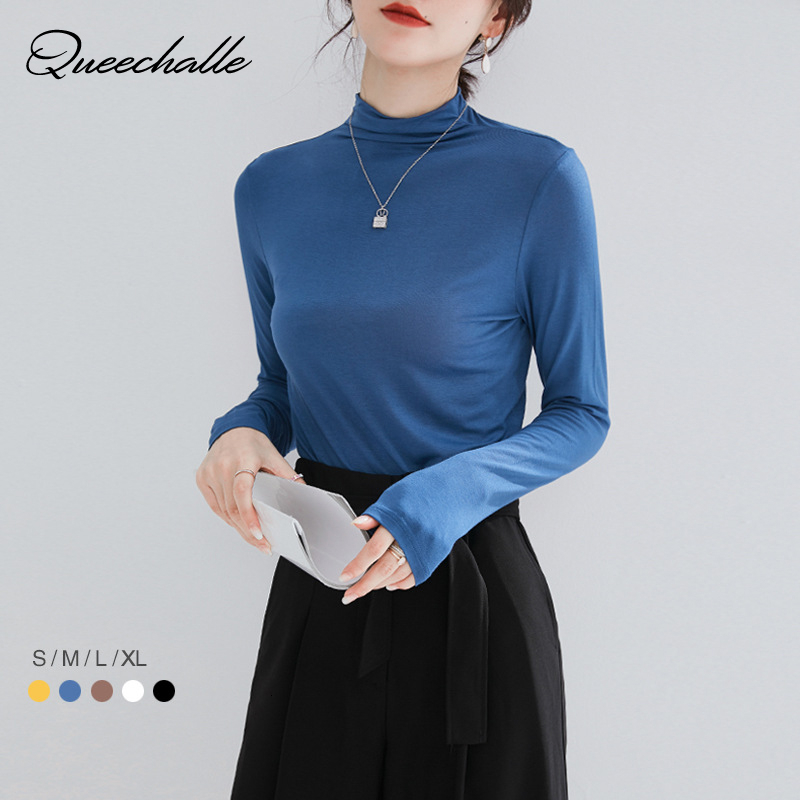 <font><b>6</b></font> Solid Color Cotton Elastic Basic T-<font><b>shirt</b></font> Women Turtleneck Long Sleeve Slim <font><b>Tee</b></font> <font><b>Shirt</b></font> Autumn Tops Casual T <font><b>shirt</b></font> S M L <font><b>XL</b></font> image