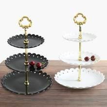 Assiette à gâteau en plastique, Plat à Dessert, assiette à fruits à trois couches, support à collation, support à gâteau détachable avec anneau doré, fournitures de fête, 1 pièce