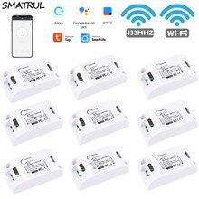 SMATRUL Tuya Smart Life APP WiFi + RF 433Mhz DIY Relay Timer Module Google Home Amazon Alexa 110V 220V 10A FOR Switch LighT FAN