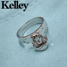 Kelley high quality original Tiff 925 sterling silver ring heart lock shape brand design ladies fashion jewelry couple gift