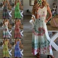 Tank-Robe Maxi-Dress Summet O-Neck Vestidos Print Sexy Boho Beach Plus-Size Women Vintage