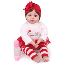 55CM Silicone Reborn Baby Doll Lifelike Vinyl Princess Cloth Body Toddler Reborn Babies Dolls Girls Bonecas Birthday Gift Toys hot 57cm full silicone body reborn babies dolls girls bath lifelike real vinyl bebe brinquedos reborn bonecas