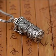 цена на S925 Silver Thai Silver Buddhist Skull Mantra Antique Six-Word Mantra Pendant