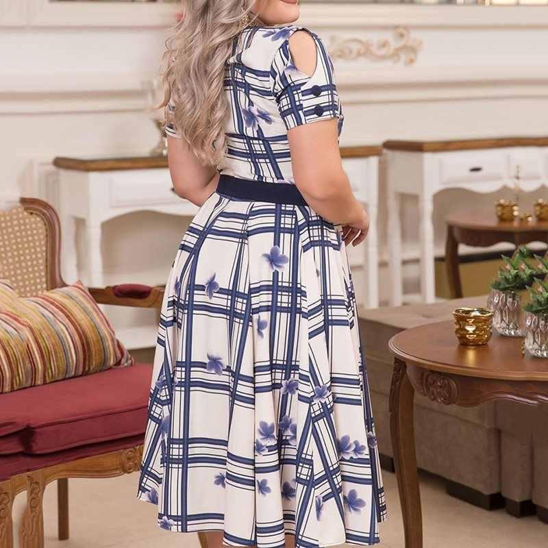 Повседневное платье трапециевидной формы с коротким рукавом и v-образным вырезом; клетчатое платье с цветочным узором; женское платье; Vestiods