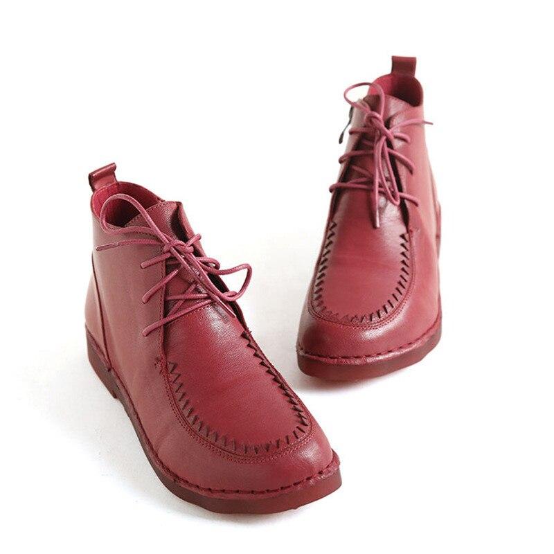 Véritable cuir femmes chaussures décontracté rétro bout carré bateau chaussures femme punk chaussures à lacets