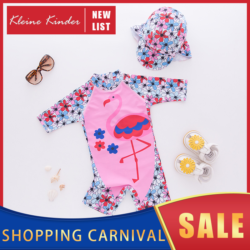 Baby Swimwear UPF50 Children Swimsuit One Piece With Cap Cartoon Flamingo Print Bathing Clothes Girl Beach Pool Swimming Suit