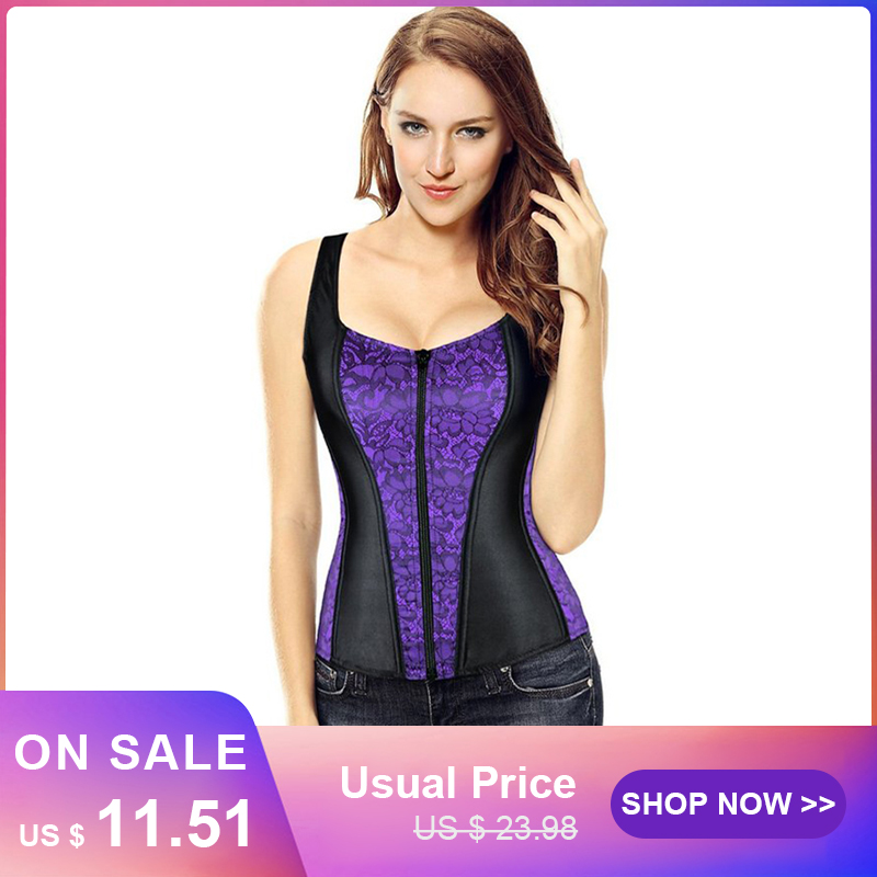 Women   Corset   2019 New Vest Tops Fashionable   Bustier   Corselet Overbust Red Black   Corset   With Straps Satin Sexy Lingerie 2928