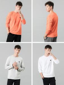Image 4 - SIMWOOD 2020 bahar yeni uzun kollu t shirt erkekler rahat temel % 100% pamuk tshirt logo rahat üst artı boyutu t shirt SI980594