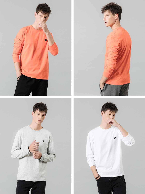 Simwood 2020 Musim Semi Baru Lengan Panjang T-shirt Pria Kasual Dasar 100% Cotton Tshirt LOGO Kasual Top Plus Ukuran Kaos SI980594