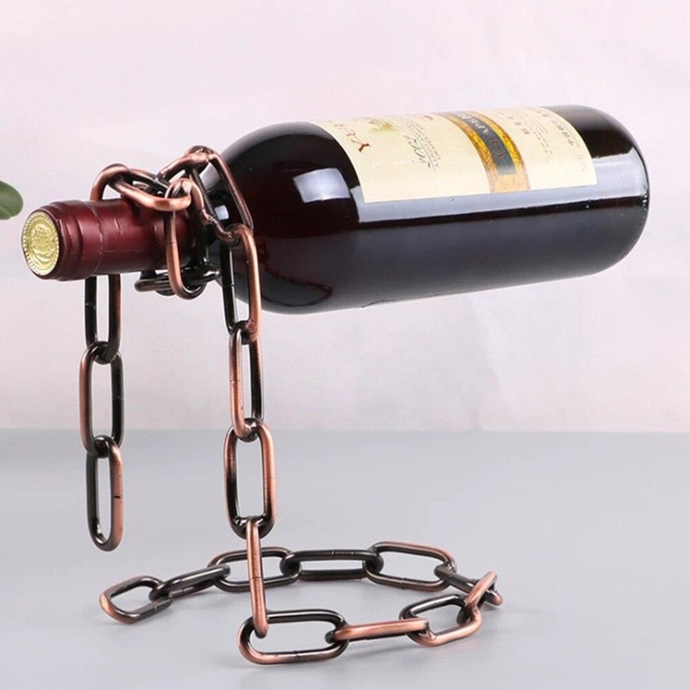 Magical Hanging Chain Wine Display Bracket Retro European Glass Stand Decor European Retro Portable Wrought Iron Wine Rack