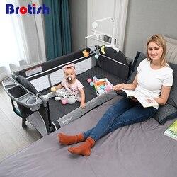 Brosh cuna empalme Cama grande extraíble bb multi-función portátil plegable recién nacido bebé cabecera cama cuna cama