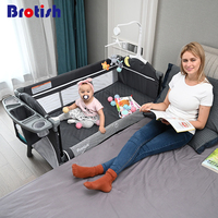 Brotish Crib splicing large bed removable bb multi function portable folding newborn baby bedside bed cradle bed