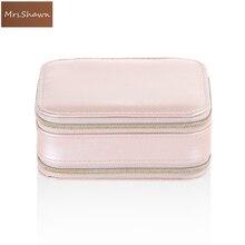 Mrs.Shawn Jewelry Box Portable Storage Organizer Zipper Portable Women Display Travel Case