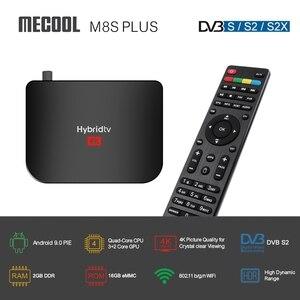 Image 2 - Boîtier hybride Mecool M8S PLUS S2 Android9.0 DVB S2 boîtier de télévision par Satellite Amlogic S905X2 2GB 16GB Support 4K M8S PLUS DVB boîtier Combo KM3