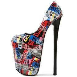 Zapatos de tacón alto extremo para mujer, tacones con plataforma en color negro y Nude de 22CM, sexys, para fiesta