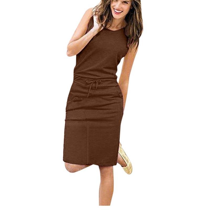 Causal Sleeveless Pockets Pencil Waist Beach Dress