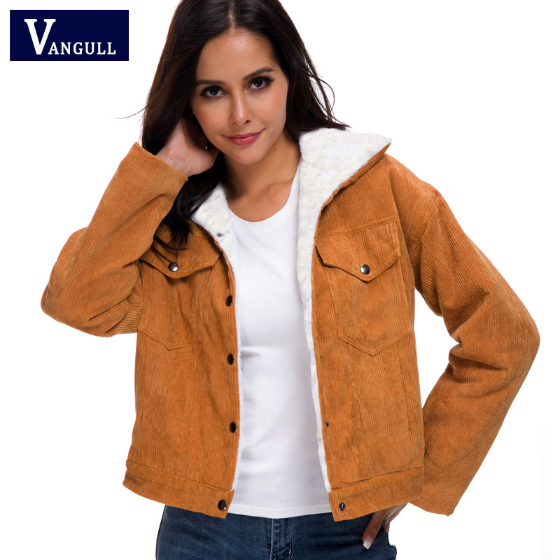 H54a0cd6975144d359d709b460fe90a99F VANGULL Women Winter Jacket Thick Fur Lined Coats Parkas Fashion Faux Fur Lining Corduroy Bomber Jackets Cute Outwear 2019 New