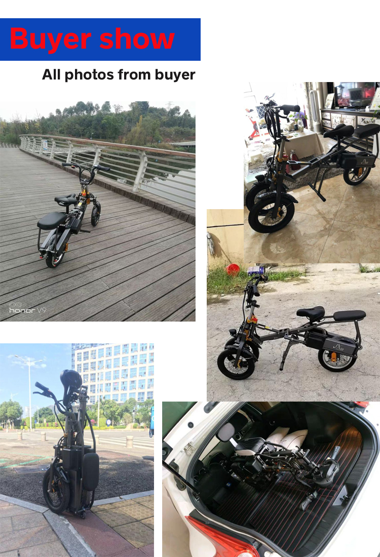 JX003 High speed electric bike 350w 48V 3 wheel foldable electric bicycle e scooter 12