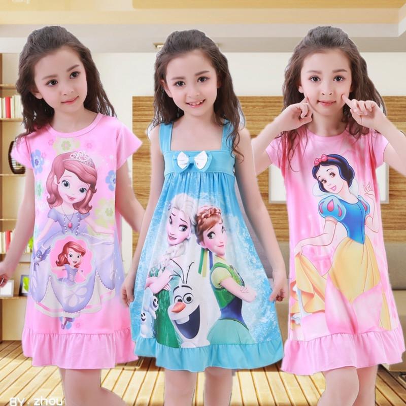 Kids Dresses For Girls Cartoon Anna Elsa Princess Dresses Children Clothing Summer Short Sleeved Pajamas Dress Cute Homewear