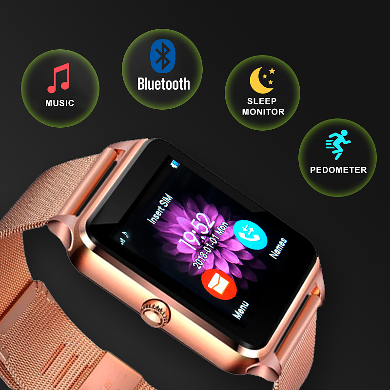Smart-Watch-Women-LED-Touch-Screen-Bluetooth-Sport-Music-Multifunction-Steel-strap-Smartwatch-Clock-Women-watch