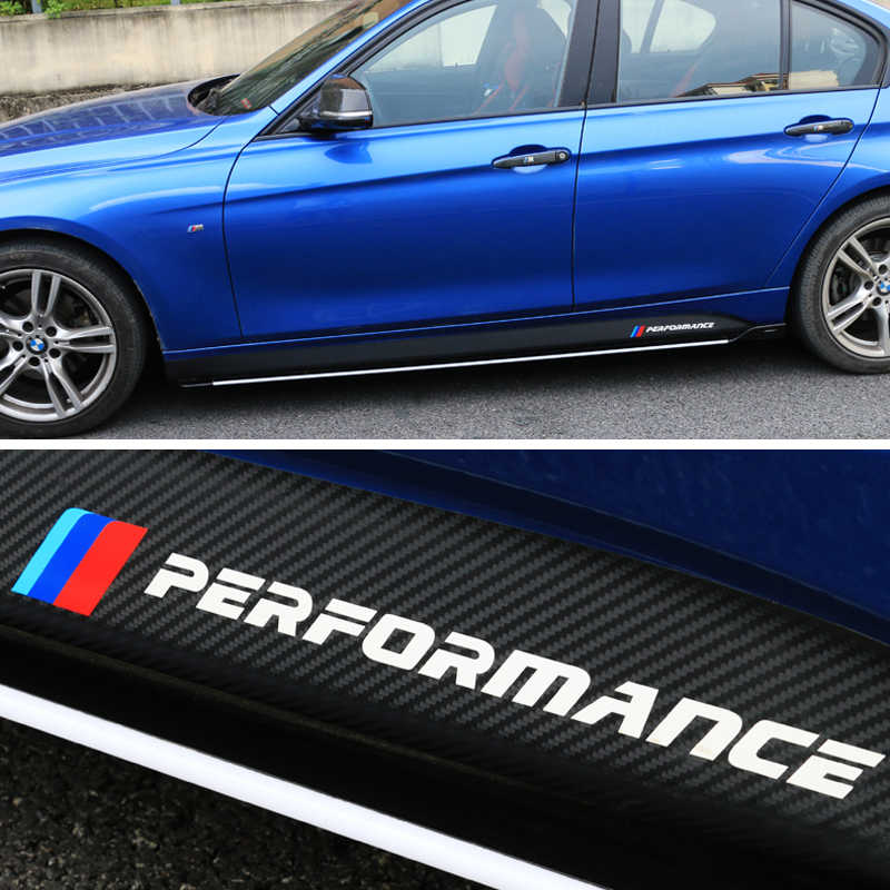 5D סיב פחמן צד חצאית אדן מירוץ פס עבור BMW F30 F31 F32 F33 F22 F23 F15 F85 F10 E60 e61 G30 E90 M ביצועים מדבקה