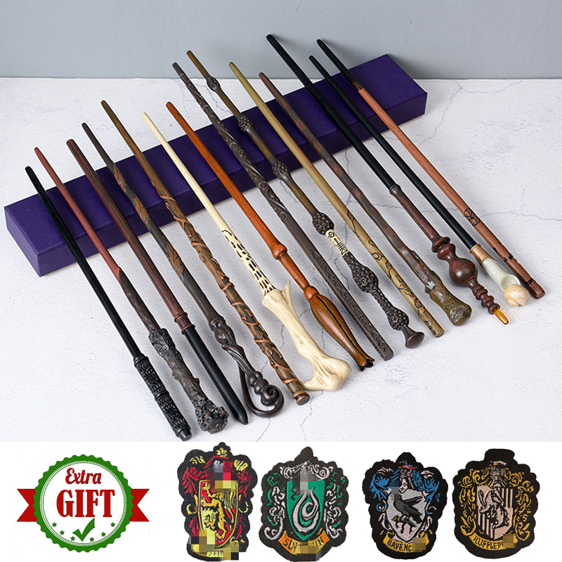 28 Kinds Potters Metal Core Magic Wand Cosplay Dumbledore Voldemort Malfoy Snape Hermione Ron Wands Toys 4 Badges As Free Gift
