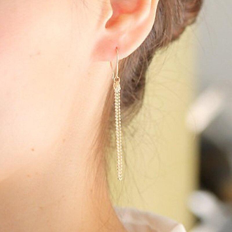 Drop Earrings For Women Tassel Earings Ladies Fashion Jewelry Girls Yellow Gold Color European Bohemia Stainless Steel Oorbellen