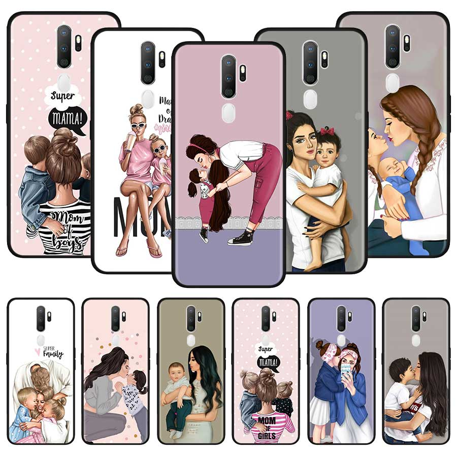 Baby Mom Girl Family <font><b>Case</b></font> For <font><b>Oppo</b></font> A5 A9 A31 F15 Reno3 Youth Find X2 Lite Neo A52 A72 A92 A92s <font><b>F11</b></font> <font><b>Pro</b></font> ACE2 Ace Cover Couqe image