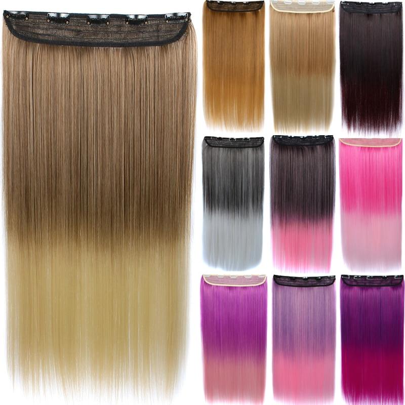 Similler Long Straight 5 Clip In estensioni dei capelli Ombre Hairpieces sintetico naturale da nero a grigio due toni capelli finti 100g