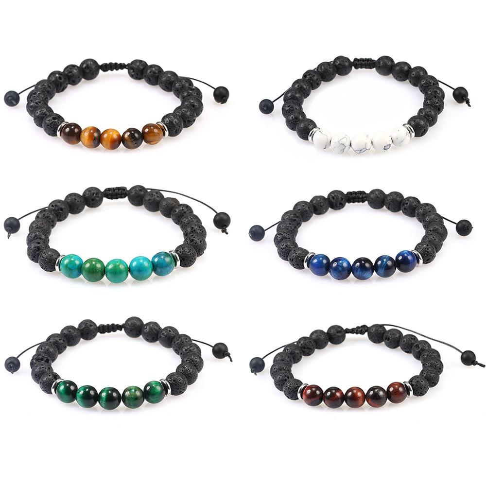 Yingwu 8mm Lava Tiger Eye Stone Beads Bracelet Adjustable Braided Rope Bangles Natural Lava Rock Men Women Yoga