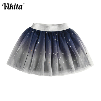 VIKITA Kids Tutu Skirt for Girl Children Autumn Spring Sequins Tulle Mesh Princess Skirts Layered Party School Casual