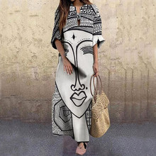 2020 moda vintage retrato impressão vestido abstrato rosto de cintura alta vestidos femininos praia festa outono elegante solto vestido feminino