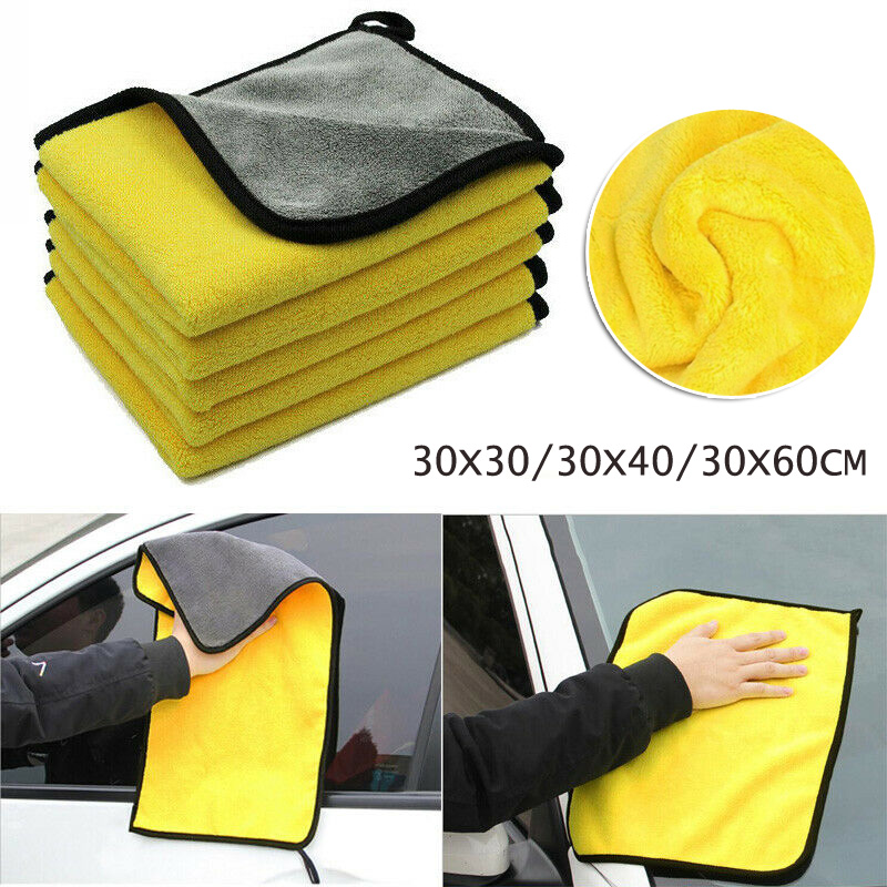Soft Yellow Car Washing Towel Polyester Fiber Material Dry Strong Water Absorbent  For Car/ Window/ Dish Cleaning