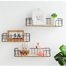 купить Iron Wooden Wall Shelf Wall Mounted Storage Rack Organization For Living Room Bedroom Bath Home Decor DIY Wall Decoration Holder дешево