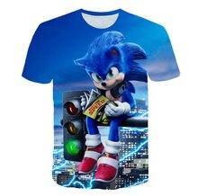 2021 Summer Kids Boys Streetwear Teenager Clothes Short Sleeve 3D Cartoon Printed Sonic T Shirt for Boys Children Tops 4T-14T