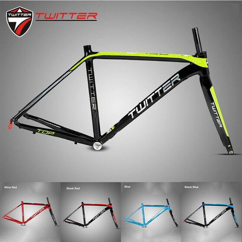 TWITTER 700C Road Bike Frame 46/48/50/52cm Aluminum Alloy Frameset Straight Tube Carbon Fiber Rigid Cycle Fork 130mm Ultralight