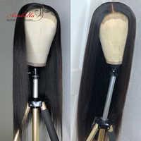 Arabella brésilien fermeture perruque cheveux raides 180% densité pré plumé avec des cheveux de bébé 4x4 fermeture perruque 100% Remy perruques de cheveux humains