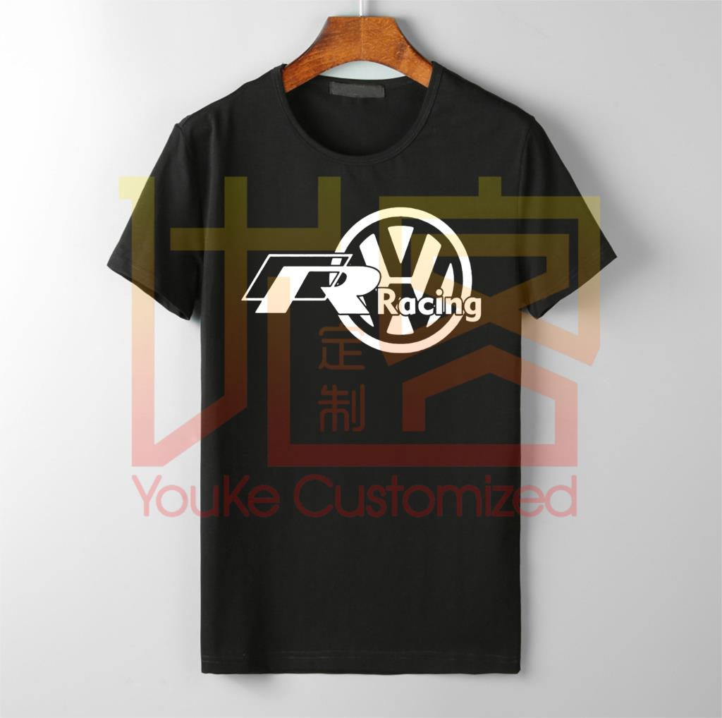 Men's Super Car  VW Volkswagen R Racing - Custom Men's Black T-Shirt Fashion Men Free Shipping Men's T-shirt  Vintage Crew Neck