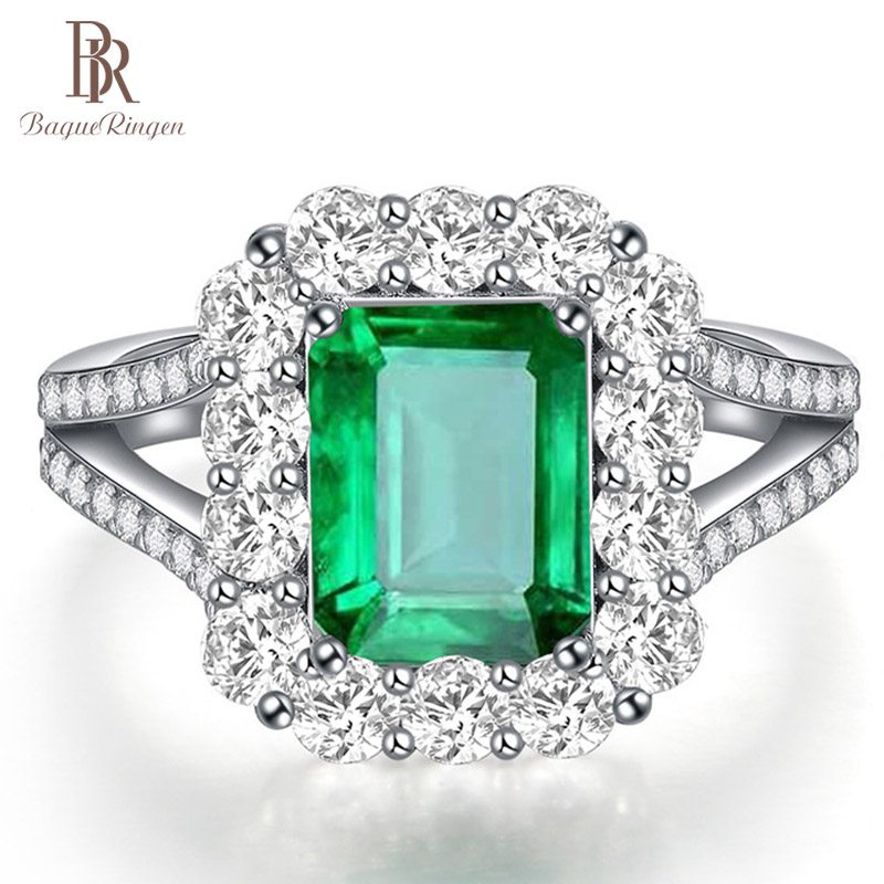 Bague Ringen Square Shape925 Sterling Silver Emerald Adjustable Rings For Women Luxury Wedding Engagement Green Gemstone Ring