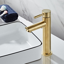 Bathroom Faucet Solid Brass Bathroom Basin Faucet Cold And Hot Water Mixer Sink Tap Single Handle Deck Mounted Brushed Gold Tap стоимость