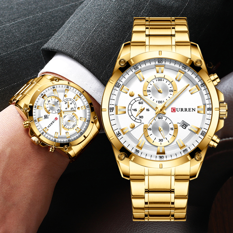 Curren Male Wristwatch Chronograph Top-Brand Waterproof Golden Luxury Relogio Quartz title=