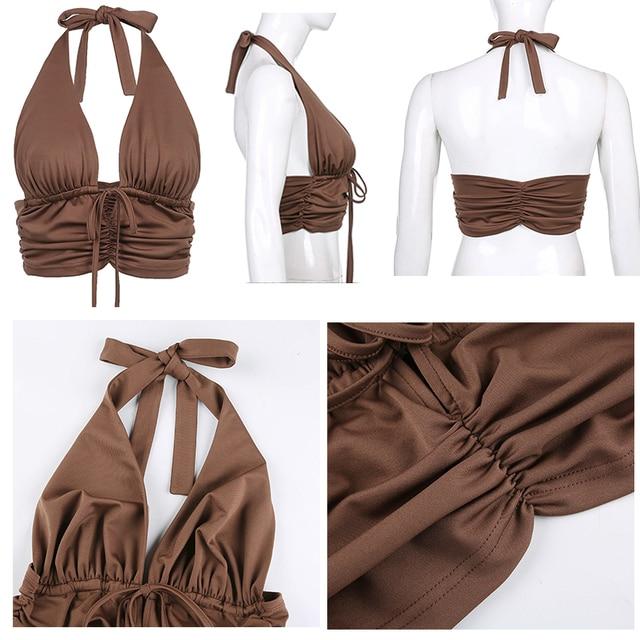 Brown Camis Ruched Tie Up Crop Top Y2K Harajuku Tank Top Backless Halter Cute 6