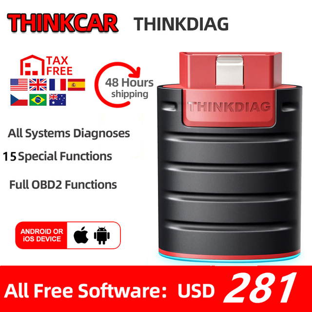 Thinkcar ThinkDiag obd2 Code Reader Scanner Automative diagnostic tool Vehicle 15 reset service Active Test pk EasyDiag AP200